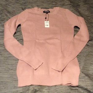 Express Crew Neck Fitted Sweater in Bush M